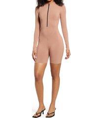 women's naked wardrobe won't u zip it snatched long sleeve romper, size large - beige