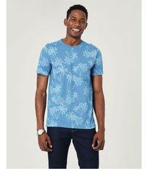 camiseta slim fio a fio estampada malwee azul claro - p