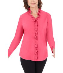 women's foxcroft gwen stretch ruffle button-up shirt, size 6 - pink