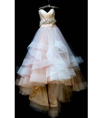 champagne bodice and white skirt wedding dress with horsehair trim