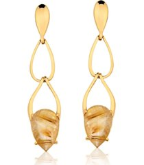 brinco toque de joia gotas pedra natural quartzo rutilo dourado ouro amarelo