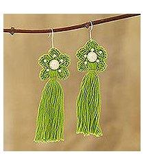 crocheted cotton dangle earrings, 'green floral tassel' (india)