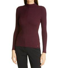 women's ted baker london taralyn mock neck sweater, size 1 - burgundy