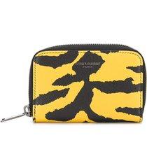 saint laurent animal print zip-around wallet - yellow