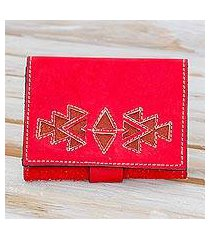 leather wallet, 'lively culture in paprika' (nicaragua)