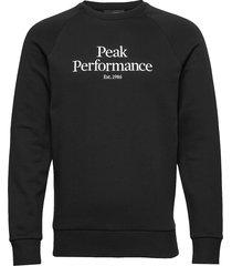 m original crew sweat-shirt tröja svart peak performance