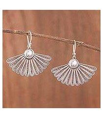 sterling silver filigree dangle earrings, 'yesteryear fans' (peru)