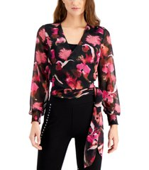 bar iii floral-print wrap top, created for macy's