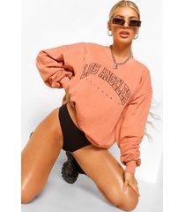 gebleekte extreme oversized la sweater met tekst, terracotta