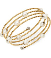 classique 1.6mm white round freshwater pearl, 18k yellow gold & stainless steel bracelet