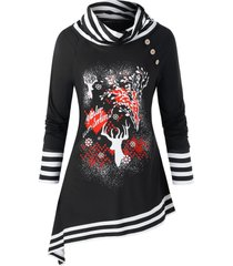 plus size christmas cowl neck elk print asymmetrical sweatshirt