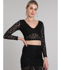 blusa feminina cropped em renda decote v manga longa preto