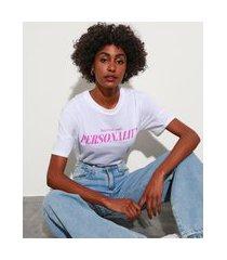 """t-shirt de algodão personality"""" manga curta decote redondo mindset off white"""""""