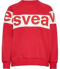 2 col big svea logo crew sweat-shirt tröja röd svea