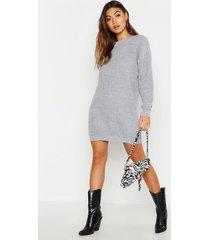 crew neck sweater dress, silver