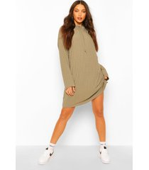 tall rib hooded sweat dress, dark olive