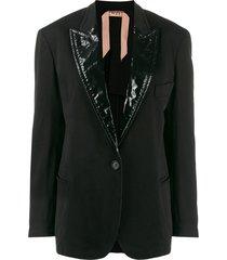 nº21 vinyl lapels blazer - black