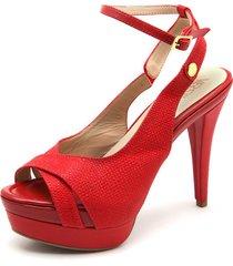 sandalia tacón alto cuero rojo versilia monarca