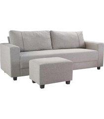 conjunto sofá 3 lugares com puff herval, linho cinza