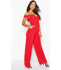 sweetheart strappy cold shoulder jumpsuit, red