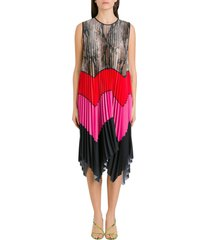 msgm color block pleatde long dress