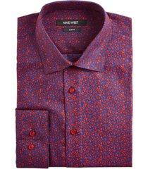 nine west men's slim-fit wrinkle-free performance stretch navy & red floral print dress shirt