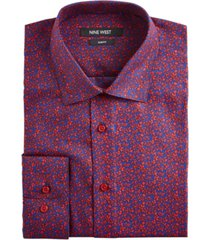 nine west men's slim-fit wrinkle-free performance stretch navy & red floral print dress shirt