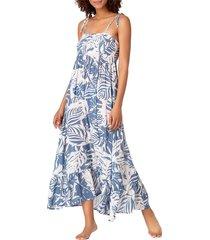 anne cole women's palm-print smocked coverup dress - blue white combo - size l/xl