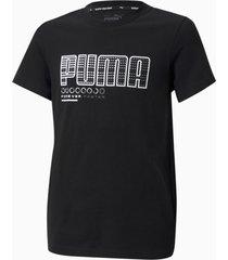 active sports t-shirt met grafische print jongeren, zwart, maat 104 | puma
