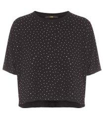 camiseta com aplicação de strass - preto