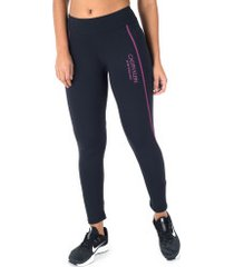 calça legging calvin klein silk - feminina - preto/rosa