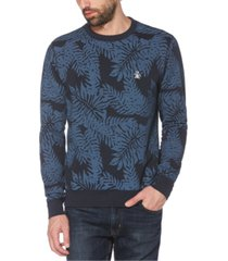 original penguin men's palm-print fleece logo sweatshirt
