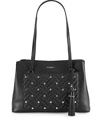 studded woven leather tote