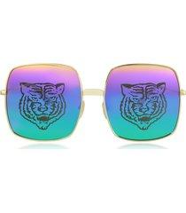 gucci designer sunglasses, rectangular-frame metal sunglasses w/tiger print