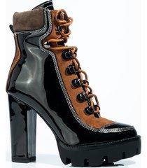 akira azalea wang take it if you can chunky heel bootie in black and brown