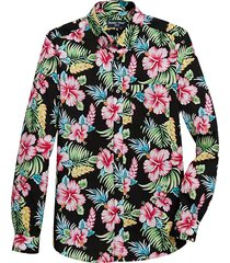 paisley & gray men's slim fit sport shirt navy and pink hibiscus - size: large