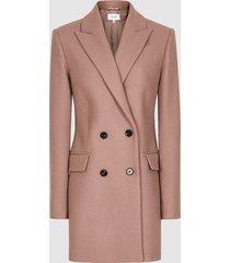 reiss dana - double breasted short wool coat in dusky pink, womens, size 10