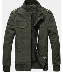 giacca in cotone da uomo casual con spalline militari