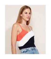 regata de tricô feminina mindset cropped tricolor alça fina decote redondo preta