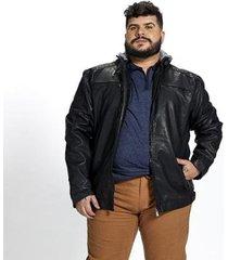 jaqueta corino plus size capuz removível besni masculina