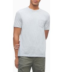 calvin klein men's monogram logo slub crewneck pocket t-shirt