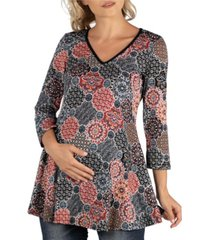 24seven comfort apparel three quarter v-neck maternity tunic top