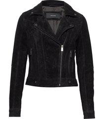 vmroycesalon short suede jacket noos läderjacka skinnjacka svart vero moda