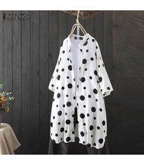 zanzea mujeres down casual lunar de tapas de la camisa del collar del soporte blusa suelta plus -blanco