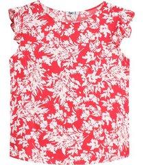 blusa manga corta con estampado hojas color rojo, talla l