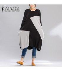 zanzea de cuello redondo de manga larga de color empalme clash media pantorrilla del vestido ocasionales flojas femenino de la talla de otoño con estilo vestido plus -negro