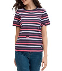 kate spade new york women's striped lip-print t-shirt - nightcap - size xs