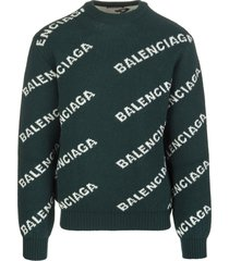 green man pullover with white all-over logo