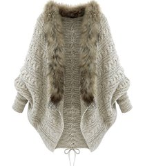 faux fur trim lace up batwing sleeve cardigan