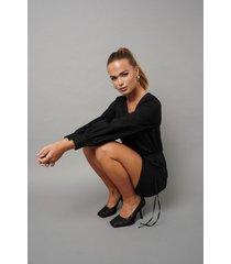hanna schönberg x na-kd tied waist puffy sleeve dress - black